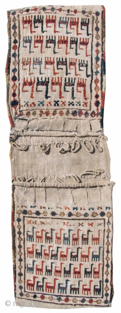 """Shahsevan Chanteh Set. wool on a cotton white ground. Of particular merit is the difference in the scale of drawing between the two bagfaces.  Collection of Mr. and Mrs. Bruce Baganz. size= 0'10""""  ..."""
