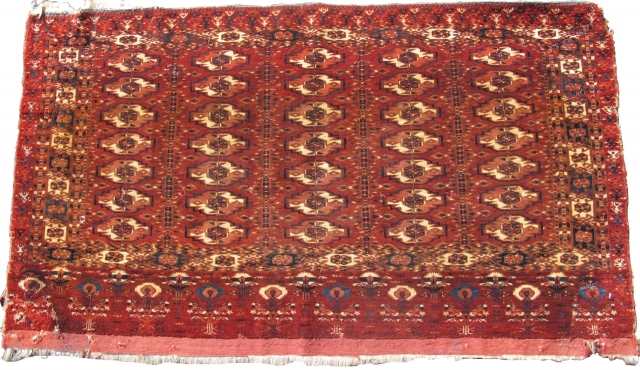 """Tekke chuval, fine weave with an older type elem, slightly smoked with lightened natural browns, 4'0""""x2'3""""  https://www.peterpap.com/product/tekke-chuval-16/"""