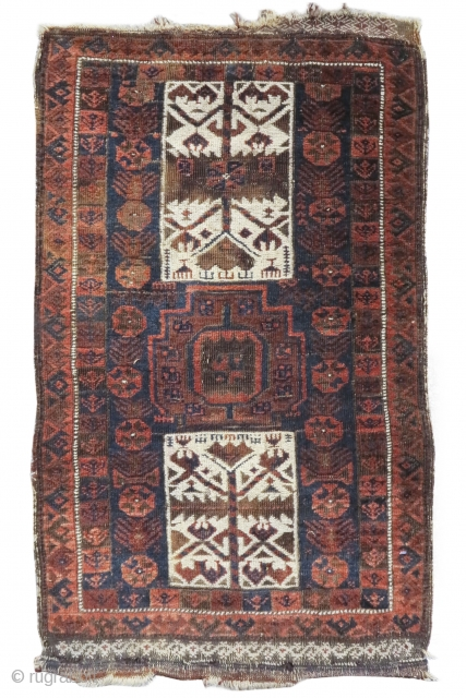 "Baluch balisht with Turkmen tent-band references. 1'10""x3'1""
