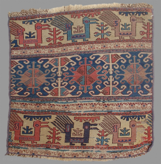 Shahsevan Soumac panel Caucasus, Mid 19th C.  This is an iconic example of sumak weaving from southern Azerbaijan. Originally one of the two short end panels of a rectangular six-sided mafrash, it was woven  ...