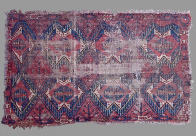 """Ersari Chuval, Uzbekistan or Afghanistan, 19th C (3rd Q)   SIZE: 3' 0""""  x  4' 8"""", INV# 15035   Though battered and worn, this is a good example of an ikat designed  ..."""