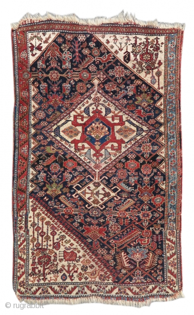 """Qashqai Vagireh  size= 2'7""""×4'0""""  Inv# 17857 A 'vagireh,' or sampler, is a small rug containing multiple patterns utilized by weavers to make larger pieces. This Qashqai vagireh contains samples for three corner piece  ..."""