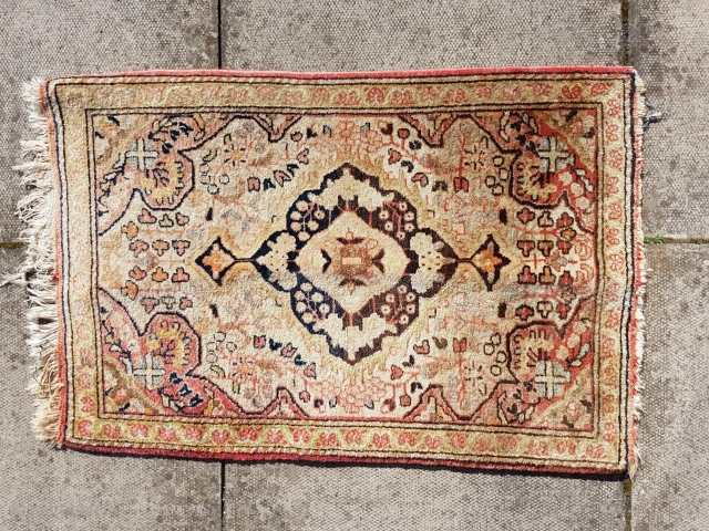 Small Persian Antique Sampler or Wagireh rug or mat. Possibly a Sarough in Farhan design   Size c. 90x60cm or 35x24 inches