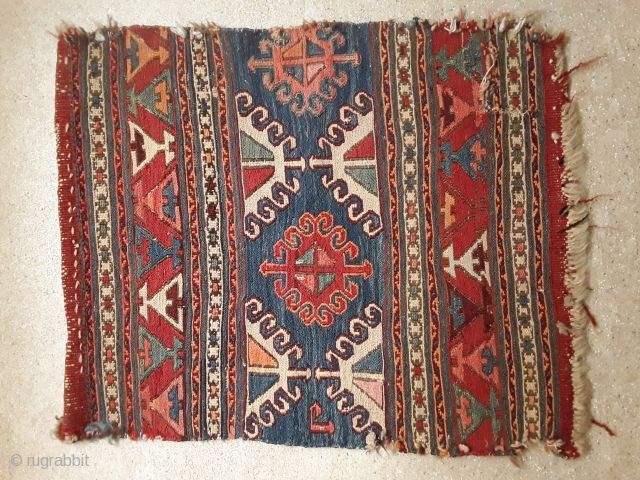An antique sumak side panel with 56/48 cm in used condition.