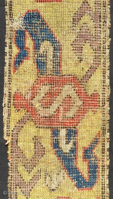 Early 18th Century Caucasian Kuba fragment Rug Size.108x18 Cm