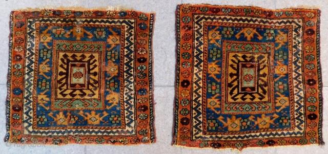 Second 19th Century Persian Saujbulak Bagface Two Pieces Size.63x60 Cm 65x60 Cm