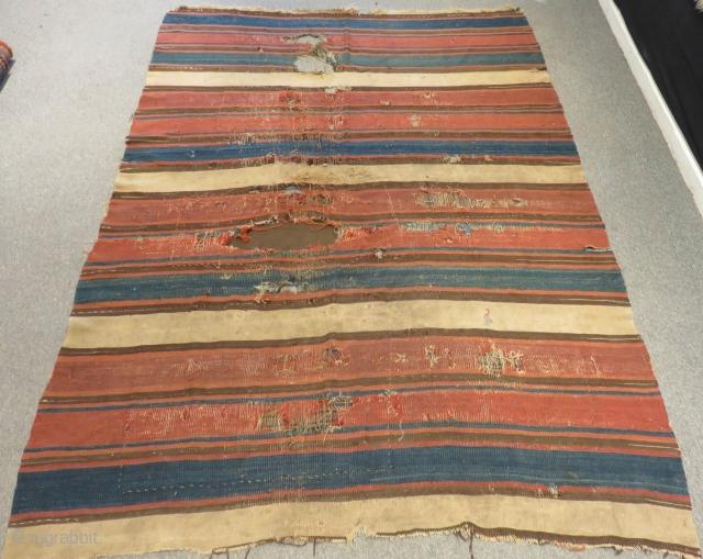 Antique Caucasian fragment Striped Kilim Size.230x160 Cm