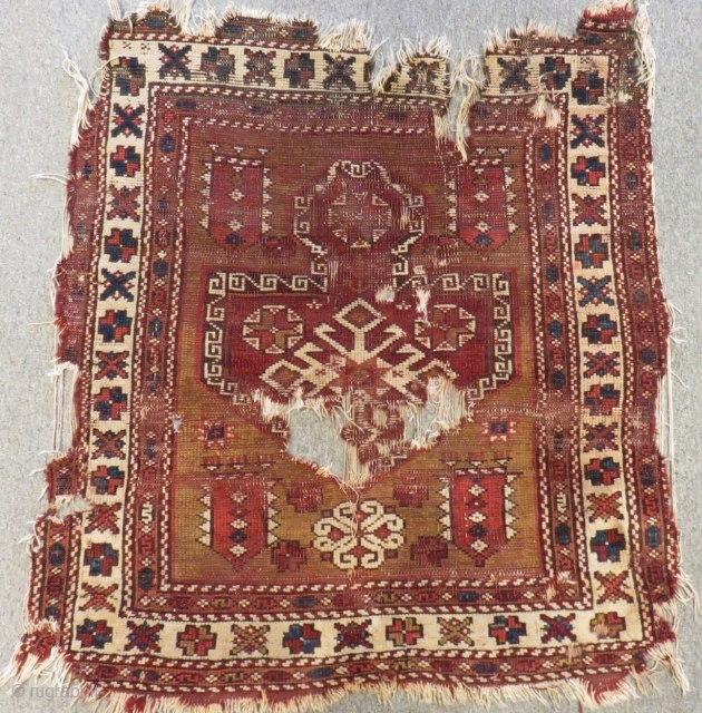 Early 19th C West Anatolian Bergama fragment Rug Size.100x90 Cm