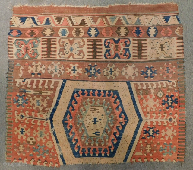 Early 19th C West Anatolian fetiye Kilim fragment Size.105x90 Cm