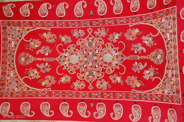 Beautiful 19th c century, Resht ? 240/140 cm, very good condition, embroided on red felt, condition very good, only few small holes, lovely piece.
