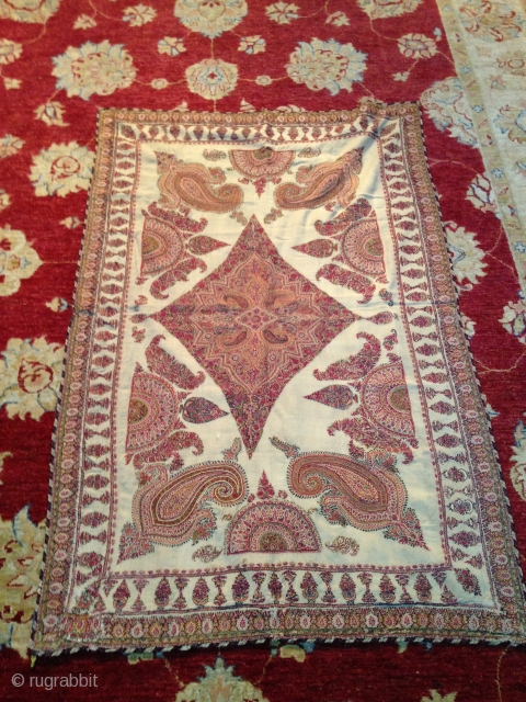 Beautiful Old White Kirman embroidery very good condition, apart few small repairs.