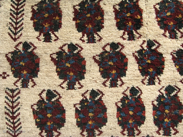 """Rare ivory ground Baluch, Madad-Khani, Sistan, Zabol, East Persia, ca. 1800, 3'1"""" x 8'  Identical field design and format as on plate 2, Azadi's CARPETS IN THE BALUCH TRADITION.  Available  ..."""