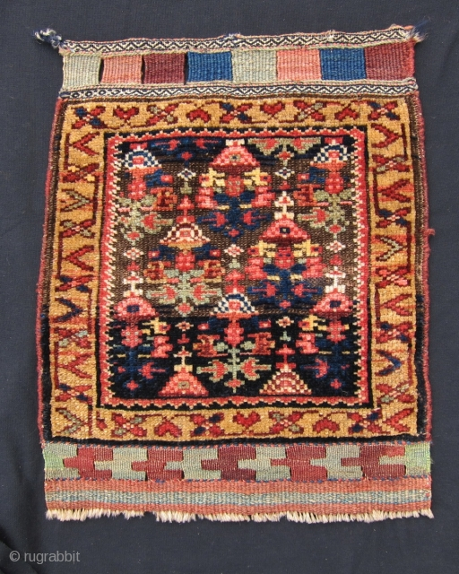 "Laate 19th C. Kurd bag face, 2' x 1'7"", This Kurdish bag face is a fine example of the positive effects of corrosion of the background brown wool in oriental rugs and  ..."