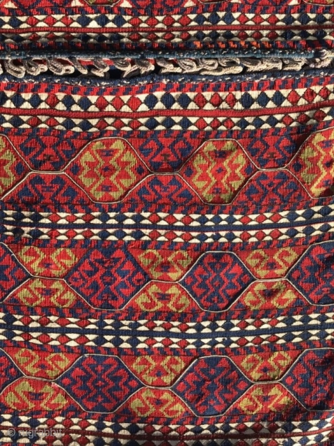 "A brocaded Anatolian heybe/saddlebags 4'2"" x 2'4"", circa 1900.  Mint condition. Organic dyes.  Probably woven as a part of a girl's dowry. Sourced by Marla Mallett. A great pair of  ..."