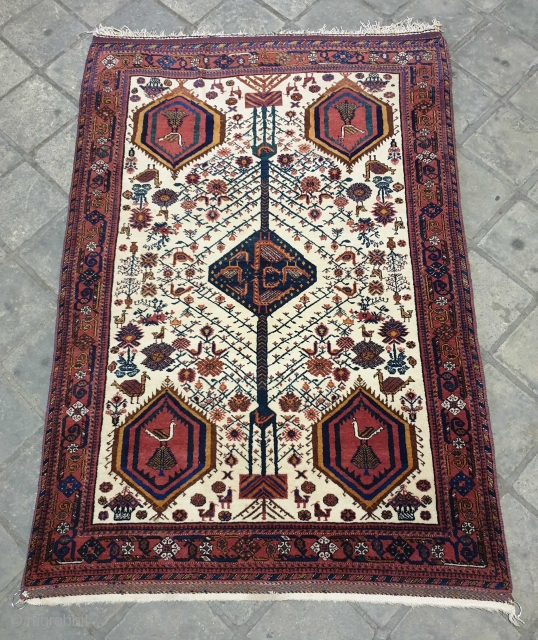 Magnificent Neiriz rug which has similarities with Afshar piled weavings.
