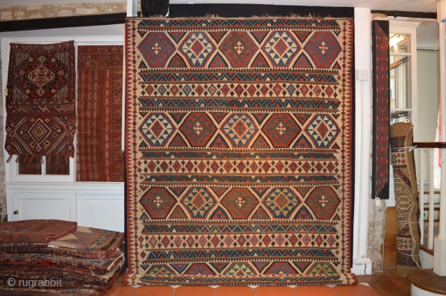 Ref 1430C Shirvan Kelim circa 1880. 9'8 x 6'1 - 294 x 182 Good condition, with no restoration, all natural dyes.