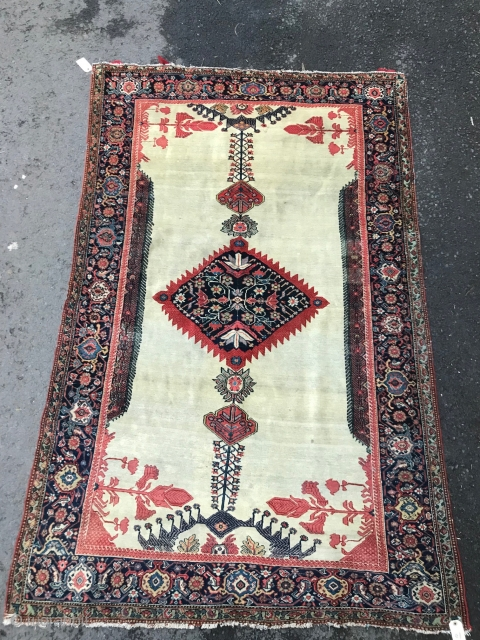 Ref 1605 Antique Fereghan rug circa 1880.  In good condition without restoration.  Excellent natural dyes. 196 x 122