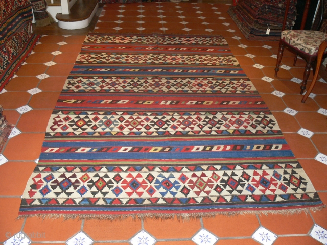 Ref 1430 Shirvan kelim circa 1880 all natural dyes.  9'8 x 5'7 - 293 x 170 no restoration.  NB  these kelims were formerly used as cart covers.