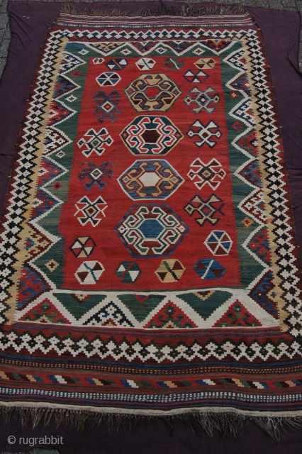 """Antique Luri Qashqai kilim 278 x 166 cm (9ft 3"""" x 5ft 6"""") late 19th/early 20th century.  Natural dyes (highlights with (chemical) fuchsine and orange (chemical?). Colours: red, blue, green, dark  ..."""