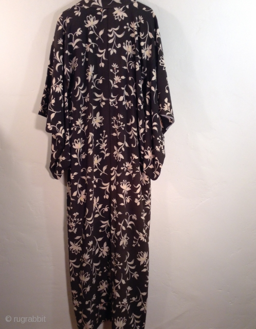 Japanese Kimono, hand painted on  black Silk fabric.  Mid 20th century.  Large and long, good for tall woman.  Excellent condition.