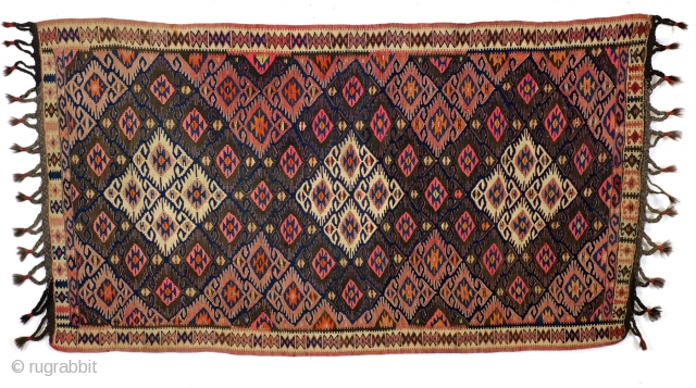 Anatolia. Iconic design.  Elibelinde, the Mother Goddess.  Symbol of fertility. also 'Hands on the hip'.  260 x 135 Cm. 8.6 ft. x 4.5 ft.  early 20th century.  In good condition. No holes,  ...
