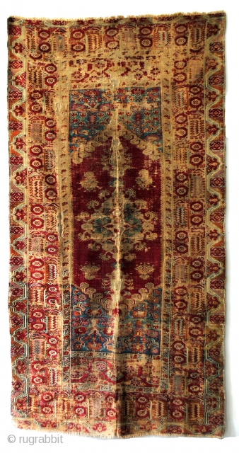 very old prayer rug.  end 18th century.  250 x 132 Cm.   8.3 ft. x 4.4 ft.  Wool on wool.