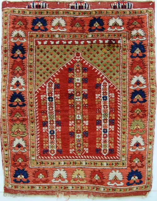 """Northwest Anatolian rug, 3'x3'9""""/ 90x112cm,  full pile, original ends and sides. Two small poorly done repairs, but otherwise very nice condition."""