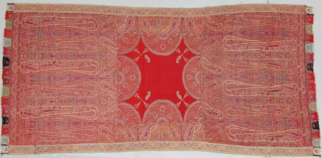 "Kashmir shawl, good condition overall, recently cleaned and conserved at our facility. 4'6""x10'/ 135x300 cm, pieced construction."