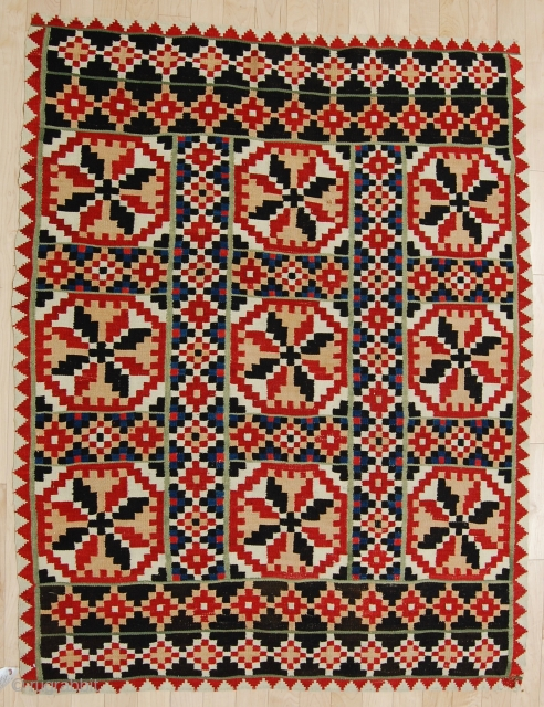 Flat woven cover, Norway. Natural dyes, hand-spun weft. Good condition with a few minor damages, no significant wear. Pre-1900.