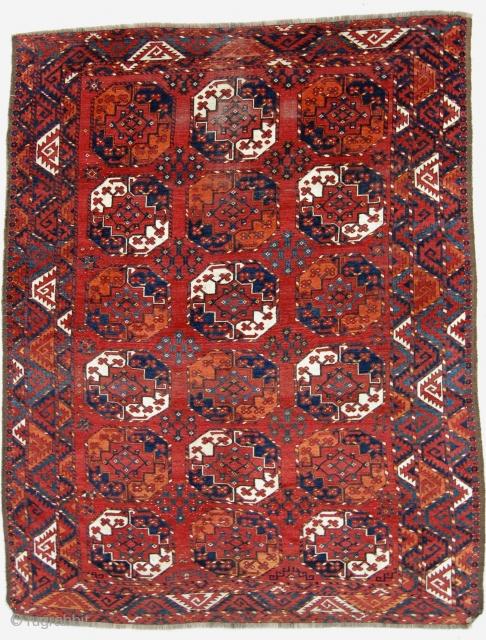 "6'10""x8'7""  Ersari main carpet.Good color, original selvages, some wear and end reduction."