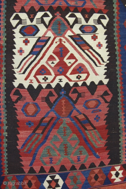 """4'2"""" x 12'6"""" East Anatolian kelim, possibly somewhere between Erzurum and Kagizman. Great color, decent condition, recently cleaned."""