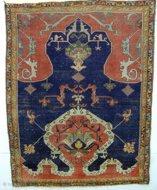 "4'4"" x 5'6"" Tuduc rendition of an Usak, Romania. Well documented by Stefano Ionescu in his excellent monographs, the work of rug forger Teodor Tuduc is easily recognized. Acquired from an old  ..."