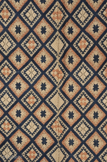 Very Fine Miao ethnic group Southwestern China blanket - attacked to recent indigo border cloth.  Circa 1930 Beautiful condition with tight clear and carpet like brocading with star and geometric motifs Good piece  40  ...
