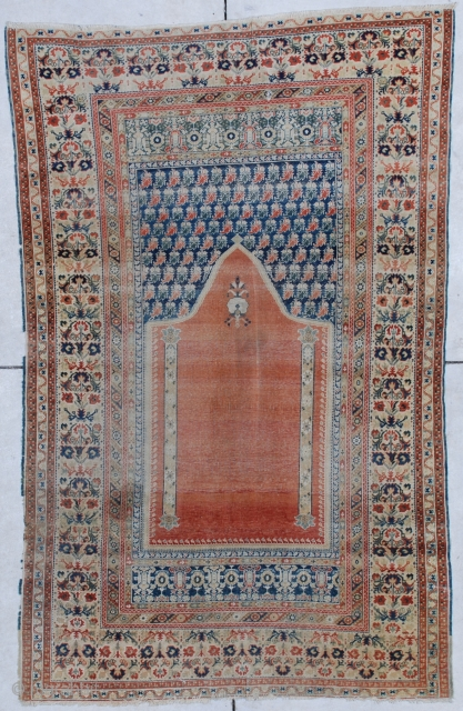 """#6856 18th century Ghordez Oriental Rug 3'6″ x 5'8″ This 18th century Ghordez antique Turkish oriental rug measures 3'6"""" X 5'8"""". It is a spectacular example of 18th century Turkish weaving.  It  ..."""