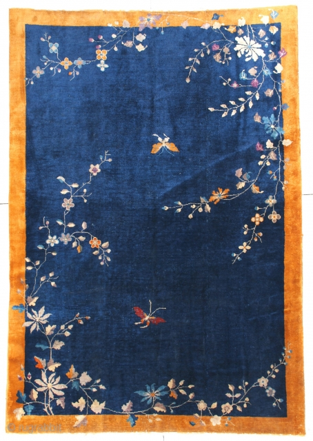 """#6667 Antique Art Deco Chinese Oriental Rug 6'0″ X 8'10"""" This circa 1920 Art Deco Chinese Oriental rug measures 6'0"""" x 8'10"""". It has a navy blue field with two butterflies in red  ..."""
