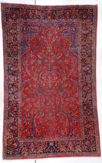 """#6965 Antique Kashan Persian Rug 4'2″ X 6'9″ This circa 1910 American quality antique Kashan Persian Oriental Carpet measures 4'2"""" X 6'9"""". It has a meditation motif with entwined trees going the length  ..."""