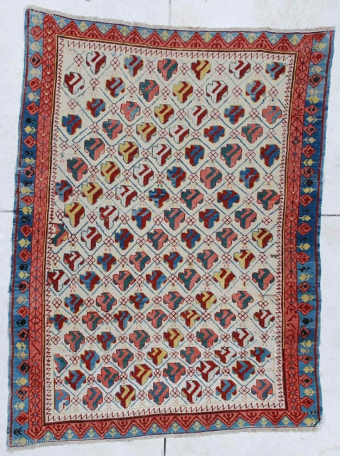 """#6449 Kuba Antique Caucasian Oriental Rug  This circa 1850 Kuba measures 3'8"""" x 4'9"""". It is a fantastic and essentially mint condition Kuba for its age. This beauty has 14 diagonal rows  ..."""