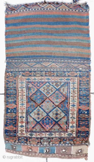 """#6762 Antique Jaf Kurd Bag Face Rug  This circa 1880 Jaffe Kurd Oriental bag rug measures 1 ' 10"""" x 3' 3 """". It is a bag that has been opened up  ..."""