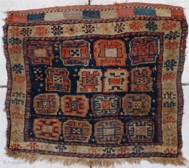 "#6948 Antique Kurd Bag Face Rug  This  Kurd bag face measures 2'0"" X 1'9"".  It is a lovely, full pile bag face with a wonderfully finished closure end in  ..."