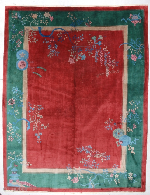"""#6685 Antique Art Deco Chinese Rug  This circa 1920 Art Deco Chinese rug measures 8'9"""" X 11'4"""". It has a deep dark cherry red field with hanging grapes in pink, blue and  ..."""