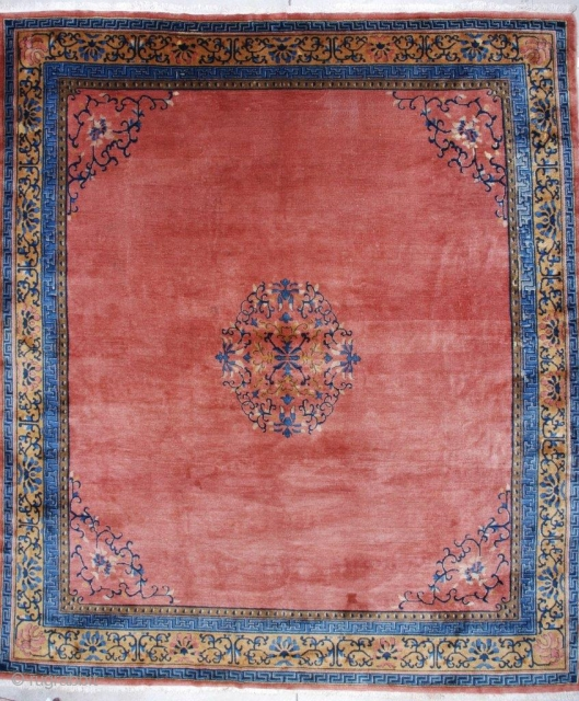 "#7162 Antique Peking Chinese Rug This circa 1910 Peking Chinese rug measures 11'1"" x 12'9"". It has a medallion in a circle with vines in blue, ivory, and pale brown to gold.  ..."