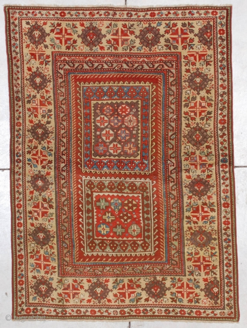 "#7178 Melas Antique Turkish Rug This mid-19th century Melas or Melez antique Oriental carpet measures 3'10"" X 5'4"" (121  x 164 cm). This motif is known as the box design for  ..."