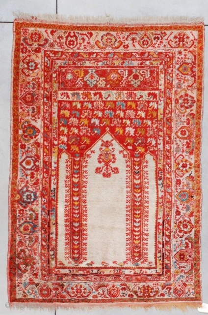 #7259 Angora Kula Antique Turkish Rug 4'4″ X 6'3″ Size: 4'4″ X 6'3″  (135 x 192 cm)  Age: Last 1/4 19 century https://antiqueorientalrugs.com/product/7259-angora-kula-antique-turkish-rug/