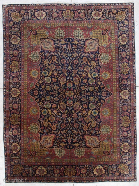 """#7293 Antique Amritsar Oriental Rug This last quarter 19th century Amritsar measures 7'3"""" x 9'9"""" (222 x 301 cm). It is extremely finely woven from the finest pashmina wool. It has a dark  ..."""