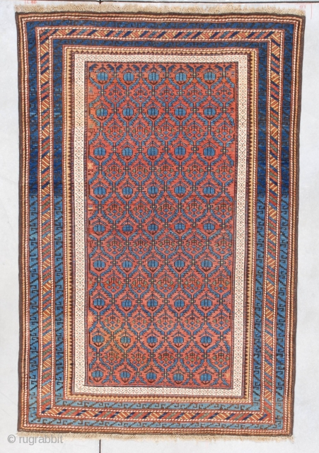 """#7332 Kuba Antique Caucasian Oriental Rug This last quarter 19th-century Kuba measures 3'8"""" X 5'8"""". It has a rust to terra-cotta colored field with hexagonal repeated compartments ala Marasali Shirvan containing blue  ..."""