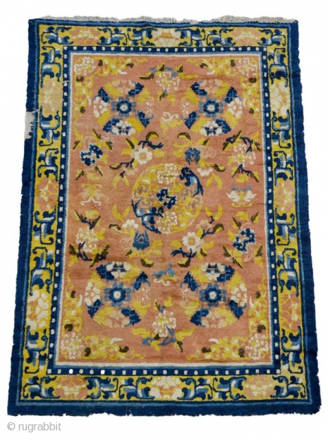"""#7341 Antique Ningxia Rug This first-quarter 19th-century Ningxia measures 4'2"""" x 5'11"""" (128 x 182cm). This rug is in  99% full pile condition with the exception of an area in the outer  ..."""