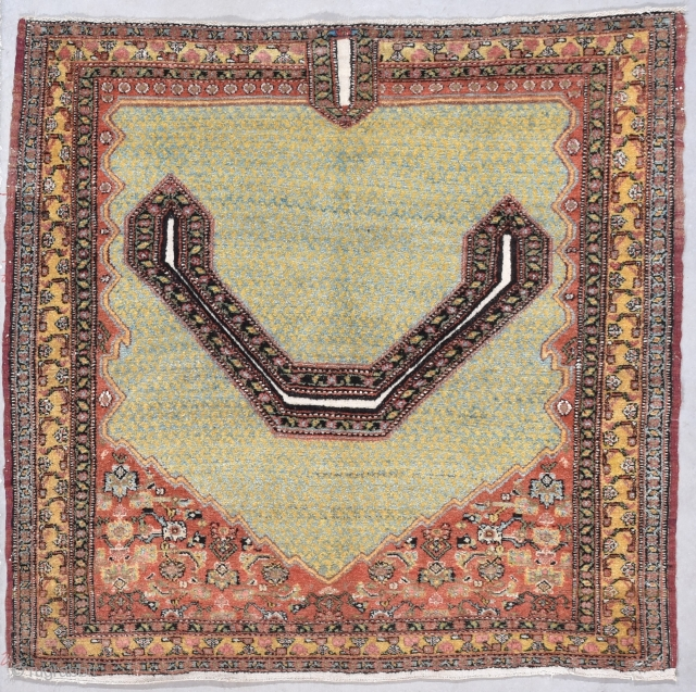 """Antique Senna Saddle 3'6"""" X 3'5"""" #7857  This circa 1880 Senna Saddle is very finely woven. It measures 3'6"""" X 3'5"""". The saddle cover is laid out in a prayer design. The color  ..."""