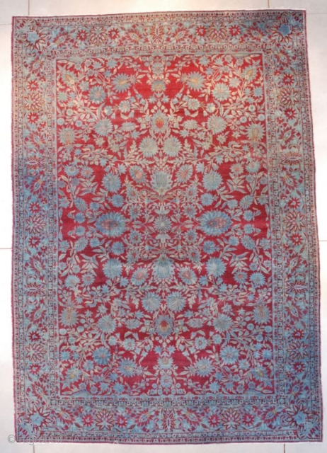 "#7650 Antique Agra Oriental Rug From India 9'10"" X 14'1″
