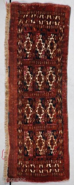 "#7356 Antique Tekke mafrash Rug 2'6″ X 11″  This third quarter 19th century Yomud Torba Oriental rug measures 2'6"" x 11"" (79 x 33cm). It is a very nicely drawn Aina gul mafrash.  ..."