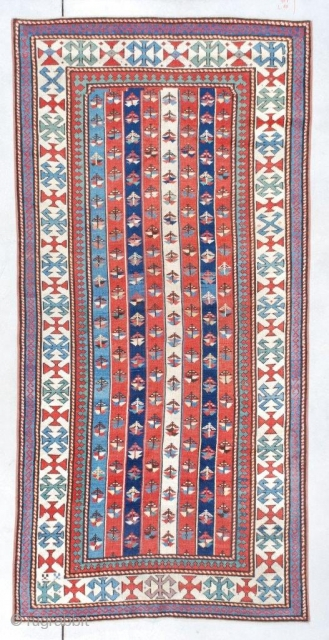 "#7372 Kazak Antique Caucasian Rug This circa 1870 Kazak Gendgi measures 3'6"" X 7'3"" (109 x 222 cm). This is one of my favorite kinds of Gendji , the 'cane' design. It  ..."